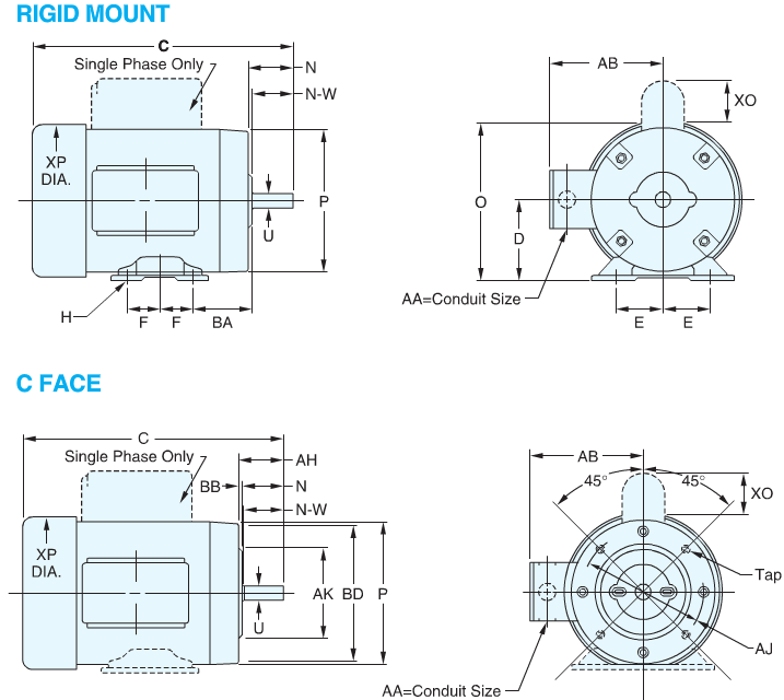 Nema c face motor dimensions for Nema design b motor